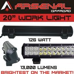 1-20-Dual-Row-High-Power-126w-Cree-Xb-d-SMD-Work-Light-Bar-by-Arsenal-Offroad-TM-13000-Lumens-FloodSpot-COMBO-Beam-Off-Road-Polaris-RZR-UTV-Raptor-Jeep-Bumper-Rock-Rock-Light-FREE-Wire-Harness-Brighte-0-0