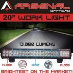1-20-Dual-Row-High-Power-126w-Cree-Xb-d-SMD-Work-Light-Bar-by-Arsenal-Offroad-TM-13000-Lumens-FloodSpot-COMBO-Beam-Off-Road-Polaris-RZR-UTV-Raptor-Jeep-Bumper-Rock-Rock-Light-FREE-Wire-Harness-Brighte-0-1