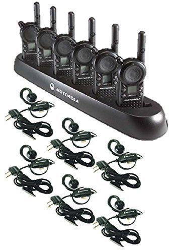 6-Pack-of-Motorola-CLS1110-Walkie-Talkie-Radios-with-Headsets-6-Bank-Charger-0