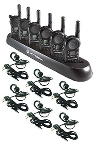 6-Pack-of-Motorola-CLS1410-Walkie-Talkie-Radios-with-Headsets-6-Bank-Charger-0