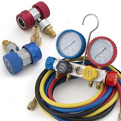 ARKSEN-4-Way-Valve-Manifold-Gauge-4Hoses-Quick-Adapter-HVAC-12HP-5CFM-Vacuum-Pump-0-0