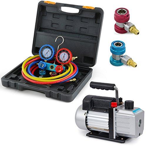 ARKSEN-Vacuum-Pump-4CFM-13HP-AC-Refrigeration-Manifold-Gauge-R134A-0