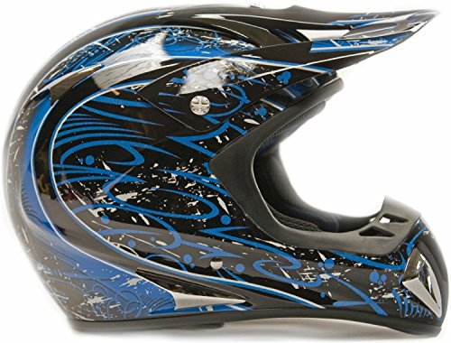 Adult-Offroad-Helmet-Goggles-Gloves-Gear-Combo-DOT-Motocross-ATV-Dirt-Bike-MX-Black-Blue-Splatter-0-1