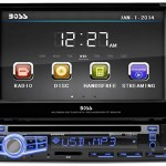 BOSS-Audio-In-Dash-Single-Din-7-inch-Motorized-Touchscreen-DVDCDUSBSDMP4MP3-Player-Receiver-Bluetooth-Streaming-Bluetooth-Hands-free-with-Remote-0
