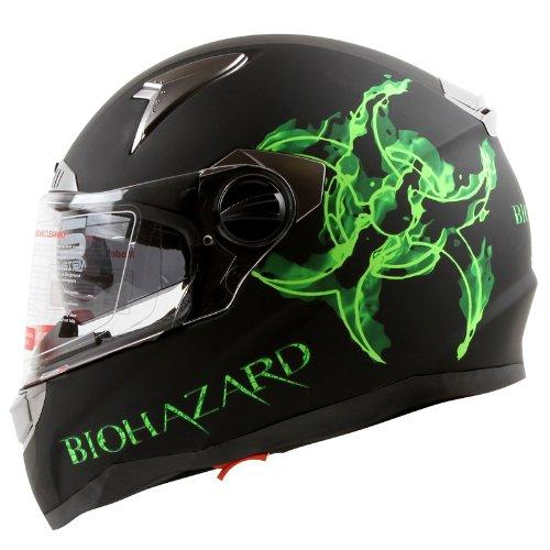 Bio-hazard-Matte-Black-Dual-Visor-Full-Face-Motorcycle-Helmet-DOT-0