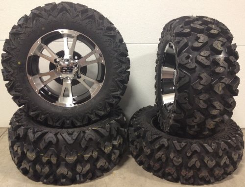 Bundle-9-Items-ITP-SS112-14-Wheels-Machined-26-Rip-Saw-Tires-4×110-Bolt-Pattern-10mmx125-Lug-Kit-0