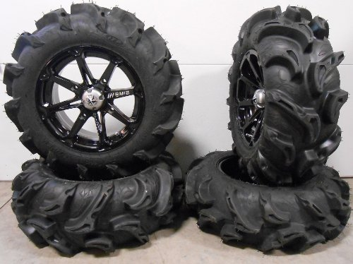 Bundle-9-Items-MSA-Black-Diesel-14-ATV-Wheels-27-Mega-Mayhem-Tires-4×156-Bolt-Pattern-38×24-Lug-Kit-0