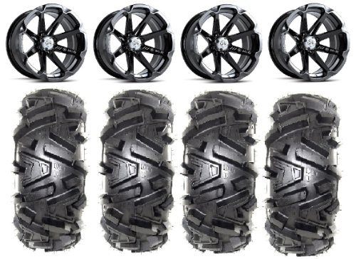 Bundle-9-Items-MSA-Black-Diesel-14-ATV-Wheels-28-EFX-Moto-MTC-Tires-4×156-Bolt-Pattern-12mmx15-Lug-Kit-0