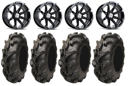 Bundle-9-Items-MSA-Black-Diesel-14-ATV-Wheels-28-Mega-Mayhem-Tires-4×110-Bolt-Pattern-10mmx125-Lug-Kit-0