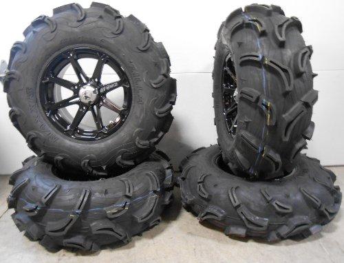 Bundle-9-Items-MSA-Black-Diesel-14-ATV-Wheels-30-Zilla-Tires-4×156-Bolt-Pattern-12mmx15-Lug-Kit-0