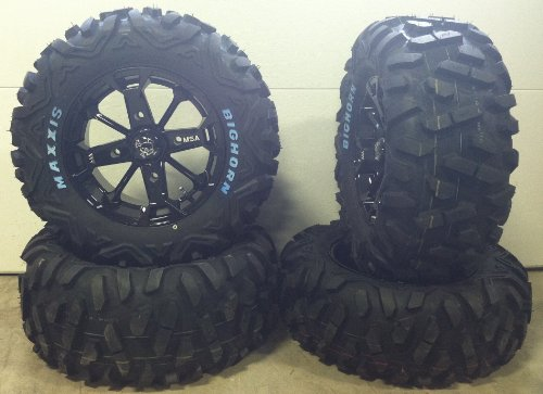 Bundle-9-Items-MSA-Black-Elixir-14-ATV-Wheels-26-BigHorn-Tires-4×156-Bolt-Pattern-38×24-Lug-Kit-0