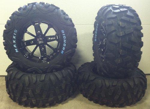Bundle-9-Items-MSA-Black-Elixir-14-ATV-Wheels-26-BigHorn-Tires-4×156-Bolt-Pattern-38×24-Lug-Kit-0