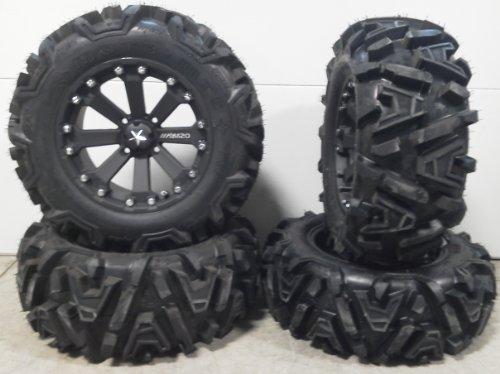 Bundle-9-Items-MSA-Black-Kore-14-ATV-Wheels-26-EFX-Moto-MTC-Tires-4×156-Bolt-Pattern-38×24-Lug-Kit-0