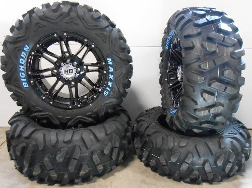 Bundle-9-Items-STI-HD3-14-Wheels-Black-26-BigHorn-Tires-4×137-Bolt-Pattern-10mmx125-Lug-Kit-0