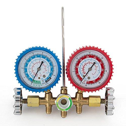Deluxe-R134a-R12-R22-R502-Manifold-Gauge-Set-3CFM-Vacuum-Pump-5ft-HVAC-Hoses-0-0