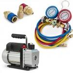 Deluxe-R134a-R12-R22-R502-Manifold-Gauge-Set-3CFM-Vacuum-Pump-5ft-HVAC-Hoses-0