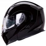Dual-Visor-Modular-Flip-up-Gloss-Black-Motorcycle-Snowmobile-Helmet-DOT-0-1