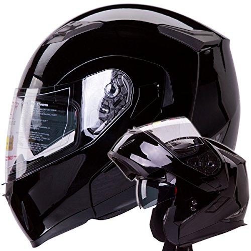 Dual-Visor-Modular-Flip-up-Gloss-Black-Motorcycle-Snowmobile-Helmet-DOT-0