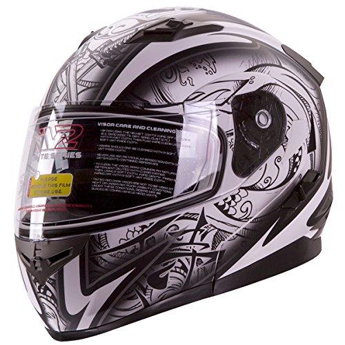 Dual-Visor-Modular-Flip-up-Matte-Black-and-White-Demon-Samurai-Motorcycle-Snowmobile-Helmet-DOT-0-0
