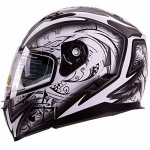 Dual-Visor-Modular-Flip-up-Matte-Black-and-White-Demon-Samurai-Motorcycle-Snowmobile-Helmet-DOT-0-1