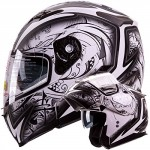 Dual-Visor-Modular-Flip-up-Matte-Black-and-White-Demon-Samurai-Motorcycle-Snowmobile-Helmet-DOT-0