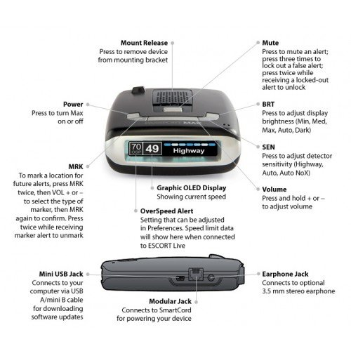 Escort-Passport-Max-HD-High-Definition-LTD-Edition-Glossy-Black-Radar-and-Laser-Detector-0-0