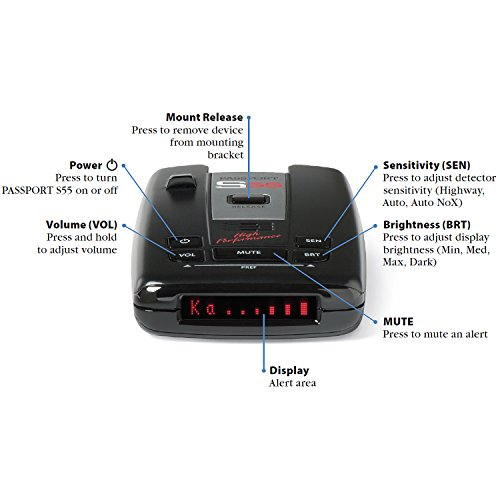 Escort-Passport-S55-High-Performance-Pro-Radar-and-Laser-Detector-with-DSP-High-Intensity-Red-Display-0-0