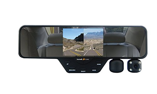 Falcon-Zero-F360-HD-DVR-Dual-Dash-Cam-Rear-View-Mirror-1080p-32GB-SD-Card-Black-0