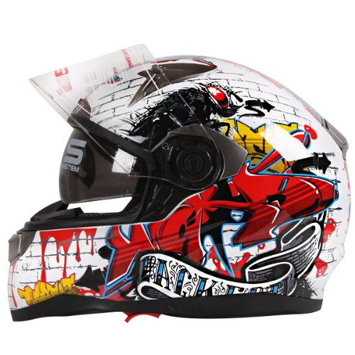 Graffiti-Street-Art-Gloss-White-Dual-Visor-Full-Face-Motorcycle-Helmet-DOT-0-0