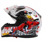Graffiti-Street-Art-Gloss-White-Dual-Visor-Full-Face-Motorcycle-Helmet-DOT-0-1