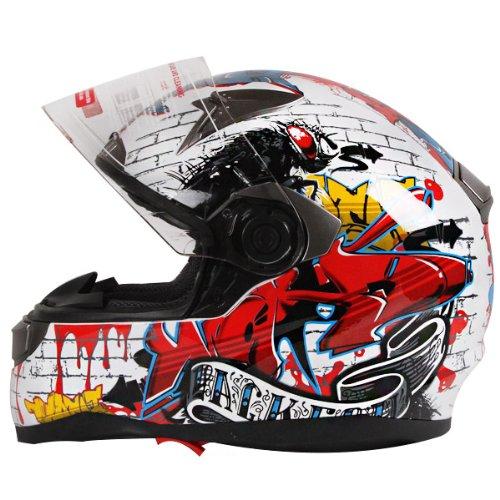 Graffiti-Street-Art-Gloss-White-Dual-Visor-Full-Face-Motorcycle-Helmet-DOT-0-1