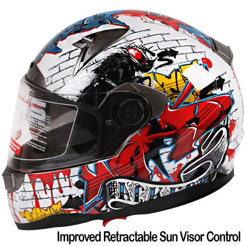Graffiti-Street-Art-Gloss-White-Dual-Visor-Full-Face-Motorcycle-Helmet-DOT-0