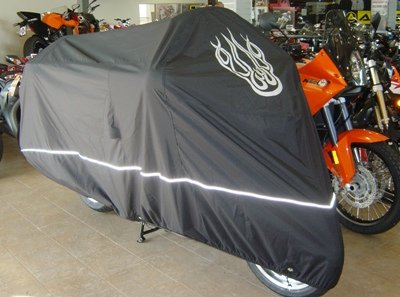 High-Quality-Motorcycle-Cover-Fits-up-to-108-length-Large-cruiser-Tourer-Chopper-includes-Cable-Lock-Flame-Logo-0