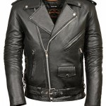 Leather-King-Mens-Classic-Side-Lace-Police-Style-Motorcycle-Jacket-0