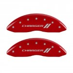 MGP-Caliper-Covers-12181SCH1RD-Charger-ll-Engraved-Caliper-Cover-with-Red-Powder-Coat-Finish-and-Silver-Characters-Set-of-4-0