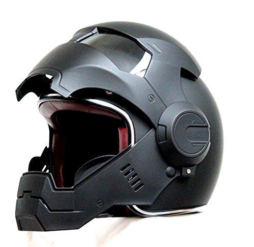 Masei-610-Matt-Black-Atomic-Man-Motorcycle-Open-Face-HJC-Icon-DOT-Helmet-0