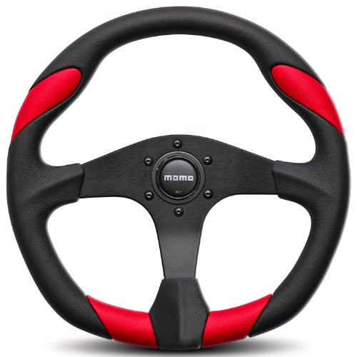 Momo-QRK35BK0R-Quark-Red-350-mm-Urethane-Steering-Wheel-0