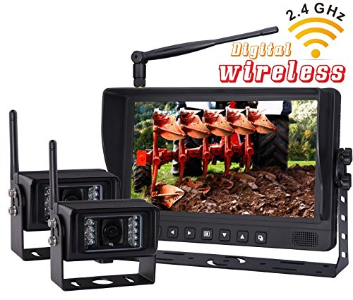 NEW-9-Wireless-Rear-VIEW-BACK-UP-monitor-with-Wireless-Transmission-Backup-Camera-FOR-FARM-TRACTORS-DIGITAL-WATERPROOF-AGRICULTURE-EquipmentIncluded-2-Pcs-Digital-Wireless-Waterproof-IR-Camera-0