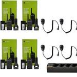 QTY-6-Motorola-RMU2080-UHF-2-watt-8-channel-radio-and-Speaker-Microphone-and-1-Multi-Unit-Gang-Charger-PMLN6384-0
