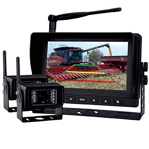 Rear-View-Backup-Camera-System-7-Digital-Wireless-Split-LCD-Monitor-with-Two-Wireless-Waterproof-Ir-Color-Cameras-for-Excavator-Cement-Truck-Farm-Tractor-Trailer-5th-Wheel-Rv-Camper-Heavy-Truck-0