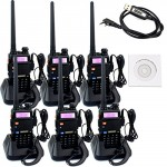 Retevis-RT-5R-2-Way-Radio-5W-128CH-VHFUHF-136-174400-520-MHz-Dual-Band-Dual-Standby-DTMFCTCSSDCS-FM-Ham-Amateur-Radio-Walkie-Talkie-6-Pack-and-Programming-Cable-0
