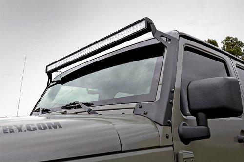 Rough-Country-70504-50-inch-LED-Light-Bar-Upper-Windshield-Mounting-Brackets-Jeep-JK-JKU-0-0