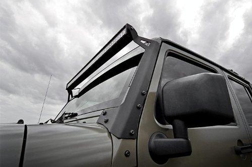 Rough-Country-70504-50-inch-LED-Light-Bar-Upper-Windshield-Mounting-Brackets-Jeep-JK-JKU-0-1
