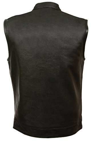 SOA-Mens-Basic-Leather-Motorcycle-Vest-Zipper-Snap-Closure-w-2-Inside-Gun-Pockets-Single-Panel-Back-0-0