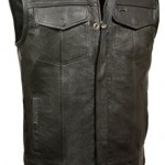SOA-Mens-Basic-Leather-Motorcycle-Vest-Zipper-Snap-Closure-w-2-Inside-Gun-Pockets-Single-Panel-Back-0