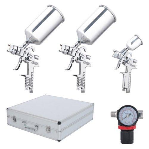 Six-Piece-HVLP-Spray-Gun-Kit-Auto-Paint-Gavity-Feed-2-Sprayer-in-Silver-0