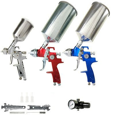 TCP-Global-Brand-HVLP-Spray-Gun-Set-3-Sprayguns-with-Cups-Air-Regulator-Maintenance-Kit-for-all-Auto-Paint-Primer-Topcoat-Touch-Up-One-Year-Warranty-0