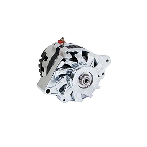 Top-Street-Performance-ES1005C-Chrome-Finish-160-Amp-Serpentine-Alternator-with-Side-Post-1-Wire-0-0