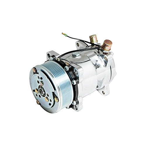Top-Street-Performance-HC5004C-AC-Compressor-with-Silver-Clutch-Chromed-Serpentine-Belt-Sanden-508-R134A-Type-0