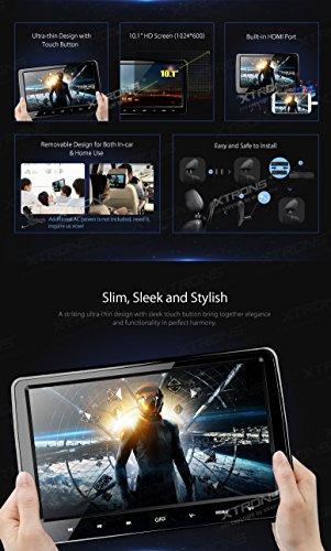 XTRONS-2x-101-Inch-Twins-HD-Digital-Screen-Car-Headrest-DVD-Player-Ultra-thin-Detachable-Touch-Button-HDMI-Port-with-One-Pair-of-Children-IR-HeadphonesBluePink-0-0